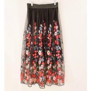 Floral Maje high waisted midi skirt